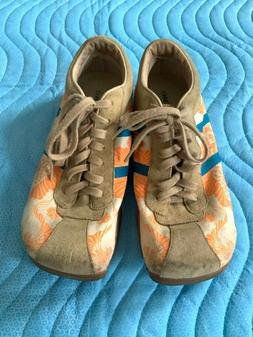 Diesel Evelyn Women's Shoes Orange/White Canvas Blue and Bie