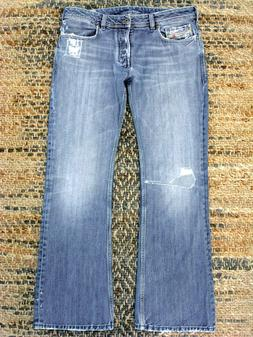 DIESEL JEANS ZATHAN SLIM BOOT ART 71S PATCH DISTRESSED 34/32