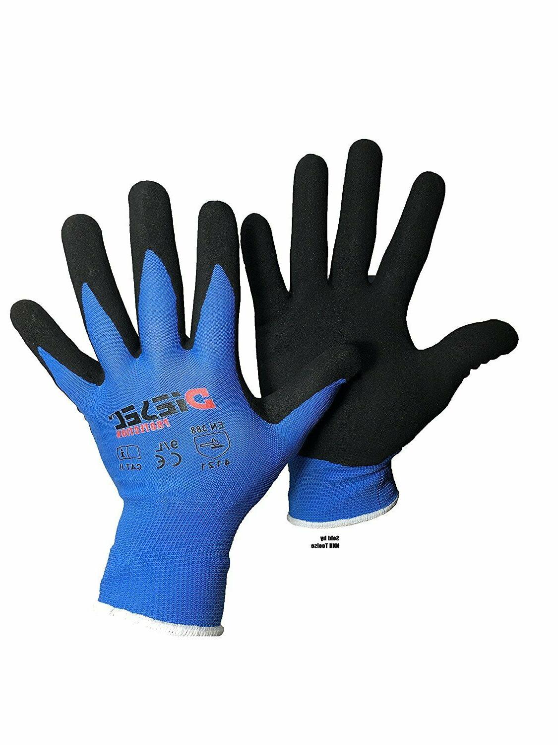 12 pair blue coated latex poly cotton