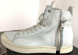 Diesel Men's S-Nentish SPECIAL White cracked leather sneaker
