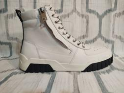 Men's Diesel White Leather Hi-Top Shoes with Zipper, Size 9,